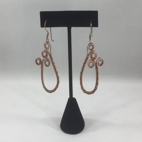 Earrings, Copper Wire Weave hoops with Swirls.  Untreated copper.