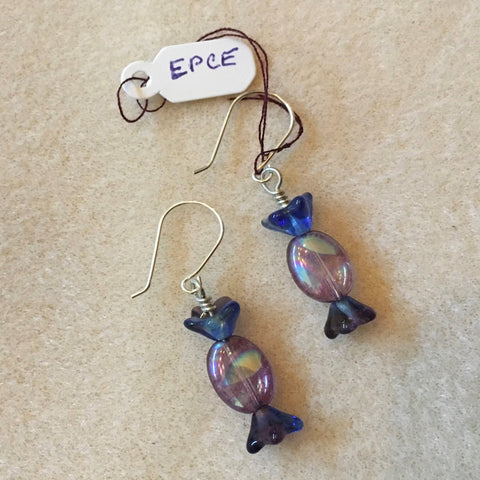 Purple Wrapped candy bead earrings. Sterling ear wires
