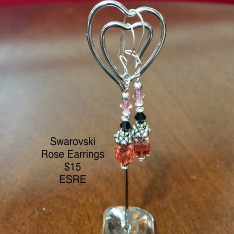 Pierced Sterling Silver Earrings with various Swarovski Crystals (Rose Cube,  Black and Pink Bicone).  Sterling findings and Sterling Silver French Ear Hooks.