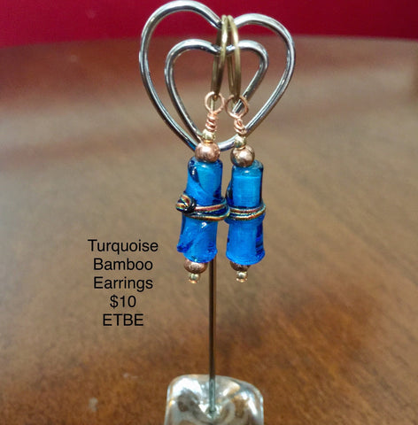 Blue Bamboo Fused Glass, Brass Ear Wires