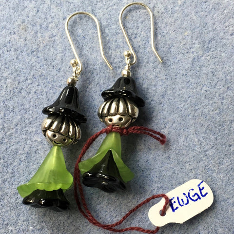 Halloween Earrings, Witch.  Green cape, Sterling ear wires