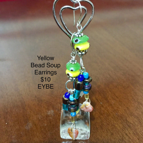 Pierced Earrings.  Yellow Bead Soup. Sterling Ear Wires