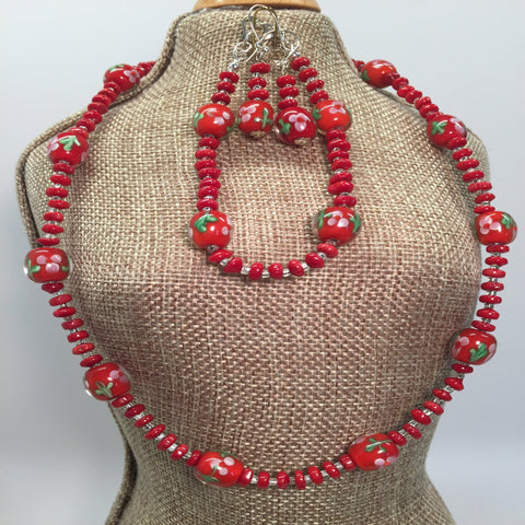 "Chinese Lampwork red flower bead necklace set.  Necklace 17"", bracelet 6 3/4"".  Earrings included.  Sterling silver findings."