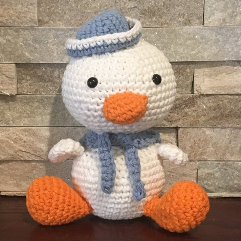 "Crochet and Stuffed Wacky Duck with Blue Hat and Scarf.  Cotton Yarn.  Zoomigurumi pattern. 8-1/2"" high"