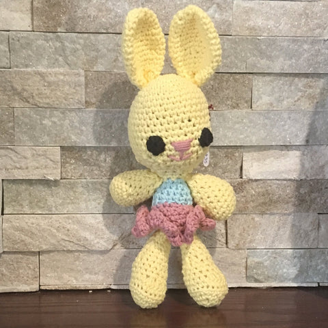 "Crochet and Stuffed Yellow Bunny with a Blue and Pink Dress.  Cotton Yarn. 12"" tall"