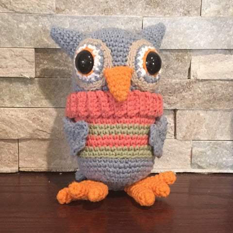 "Crocheted and Stuffed Gray Owl with Salmon and Green Striped Vest.  Cotton Yarn.  Zoomigurumi pattern.  7-1/2"" tall"