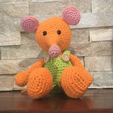 "Crocheted and Stuffed Orange Mouse with Lime Green Jumpsuit.  Cotton Yarn. Zoomigurumi pattern.  8"" tall"