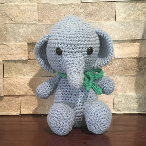 "Crocheted and Stuffed Blue elephant with Green Crocheted Scarf.  Cotton Yarn.  Zoomigurumi pattern. 8-1/2"" tall"