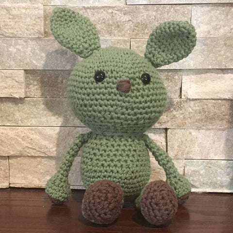 "Crocheted and Stuffed Green Floppy Bunny.  Cotton Yarn. 7-1/2"" sitting"