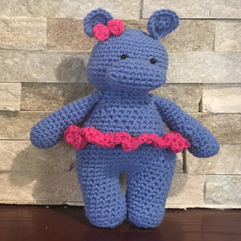 "Crocheted and Stuffed Blue Hippo with Crocheted Pink Bow and Skirt. Cotton Yarn.  9"" tall"