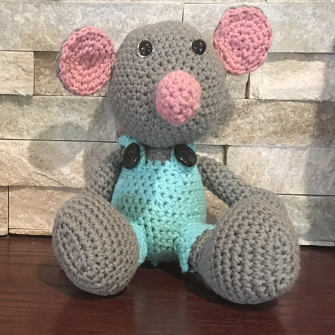 "Crocheted and Stuffed Gray Mouse with Crocheted Turquoise Jumpsuit. Cotton Yarn. Zoomigurumi pattern. 8"" tall"
