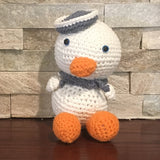 "Crocheted and Stuffed Sailor Duck with Blue Sailor Hat and Scarf.  Cotton Yarn.  Zoomigurumi pattern. 7-1/2"" tall"