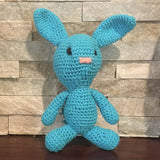 "Crocheted and Stuffed Turquoise Bunny with Pompom Tail.  Cotton Yarn.  9"" tall"
