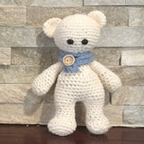 "Crocheted and Stuffed White Bear with a Blue Scarf.  Cotton Yarn. 8-1/2"" tall"