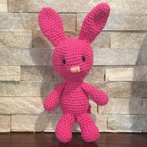 "Crocheted and Stuffed Hot Pink Bunny with Pompom Tail.  Cotton Yarn. 11-1/2"" tall"