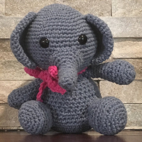 "Crocheted and Stuffed Blue Elephant with Pink Crocheted Scarf.  Cotton Yarn.  Zoomigurumi pattern. 8"" tall"