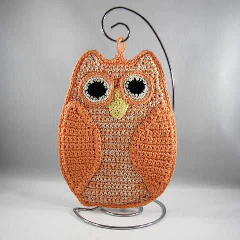 Orange Owl Hot Pad holder.  Crocheted with flame retardant cotton.  Machine washable.  Two layers sewn together.