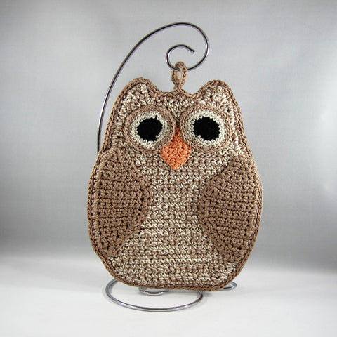 Beige Owl Hot Pad holder.  Crocheted with flame retardant cotton.  Machine washable.  Two layers sewn together.