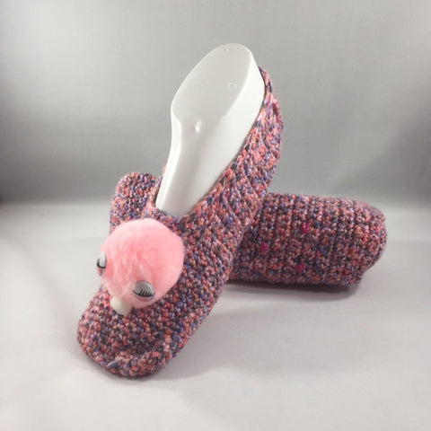 Crocheted Slippers, Pink Variegated Acrylic Yarn with a Pink Pom Pom.  Size 8.