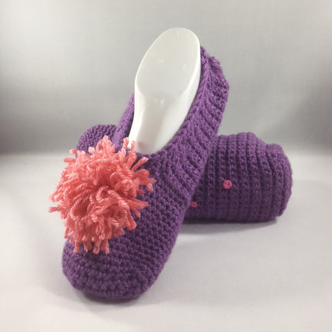 Crocheted Slippers with Dark Purple Acrylic Yarn and a Pink Yarn Pom Pom.  Size 8-1/2.