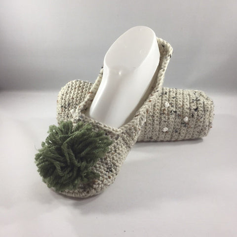 Crocheted Slippers with Beige Variegated Acrylic Yarn and Green Yarn Pom Pom.  Size 9