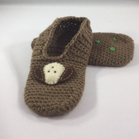 Crocheted Slippers with Brown Acrylic yarn and a White Doggy Patch with Brown Ears.  Size 6.
