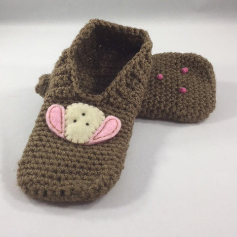 Crocheted Slippers, Dark Brown with Acrylic Yarn and a White Doggy Patch with Pink Ears.  Size 6.