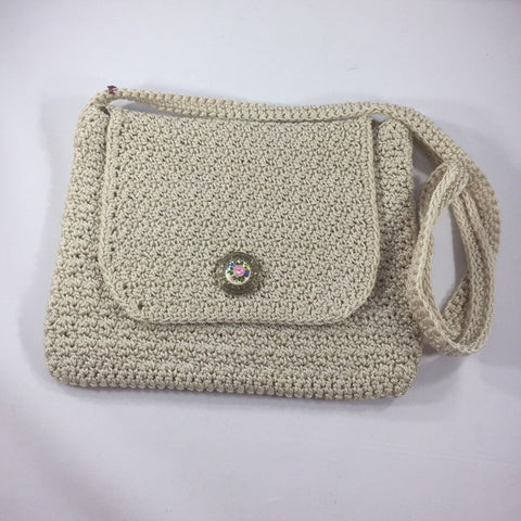 "Beige Shoulder Bag 10"" Wide x 7"" Deep.  Shoulder Strap drop 20"" with Button Accents.  Flap closure with Flower Button.  Sits at hip from shoulder."