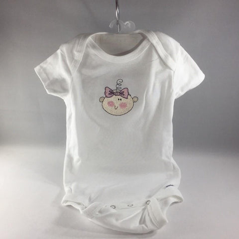 Baby Onsie for age 6-9mos.  Embroidered with Baby Girl Face