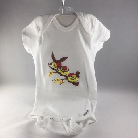 Baby Onsie for age 6-9mos.  Embroidered with Three Little Yellow Birds on a Limb