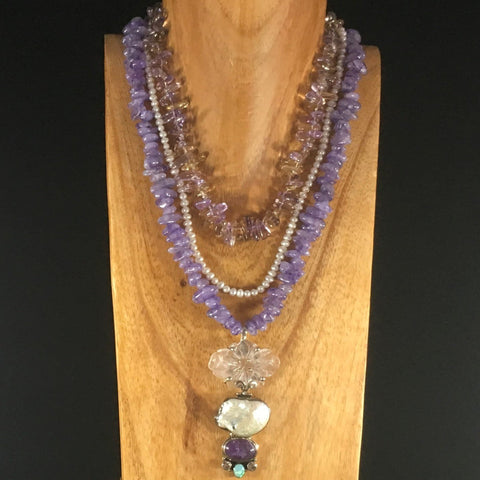 "Lilac Grade A Quartz 3 Strand Necklace Grade A, Pearls and Pendant.  Necklace 21 1/2"" with a 3"" Pendant set in silver."