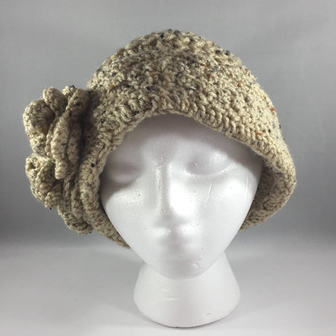 Crochet Hat,  Beige with Flowers, Adult Extra Large.  Acrylic yarn.  Machine Washable.
