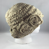 Crochet Hat, Beige with Flowers, Adult Extra Large