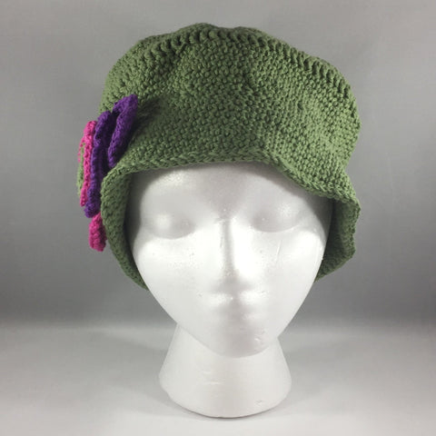 Crochet Hat, Forest Green with bright flowers, Adult Large