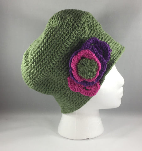 Crochet Hat, Green with Purple and Pink Flowers