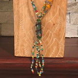 Necklace, Long Green Bead soup, Lampwork