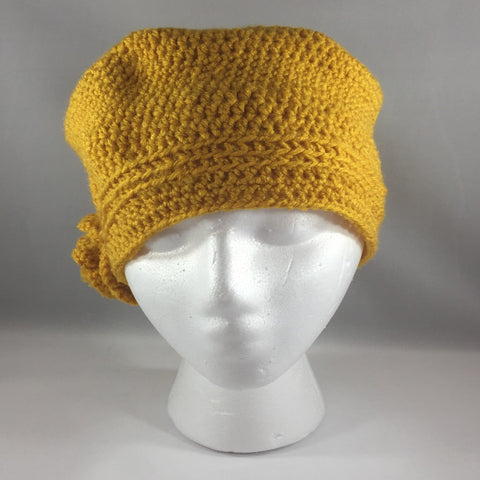 Crochet Hat, Golden Rod with Flower, Teen/Adult Large.  Acrylic Yarn.  Machine washable.