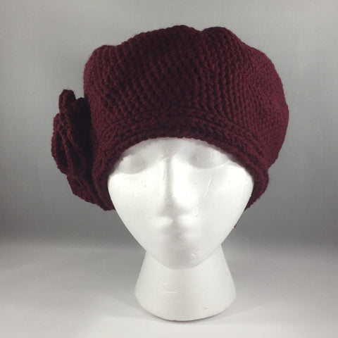 Crochet Hat,  Maroon with Flowers, Teen/Adult Extra Large.  Acrylic yarn.  Machine washable.