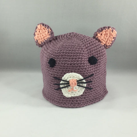 Mauve Kitty.  Cotton Yarn. Size Newborn Medium 6mos - 18mos.  Amigurumi pattern. Machine wash gentle cold.  Do not put in dryer.