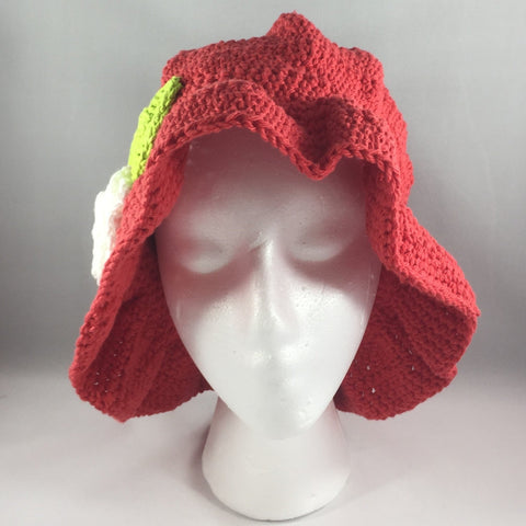 Crochet Hat, Red with White Flower, Teen/Adult Large