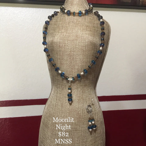 "Moonlit Night. Czech cathedral beads, topaz spacers and shimmer Rondelle spacers. All Sterling. Includes bracelet and earrings.  Necklace 17"", Bracelet 7-1/2"""
