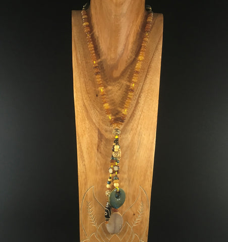 SALE, Necklace, Cocopah Oasis.  Amber beads with painted porcelain beads.  Sterling
