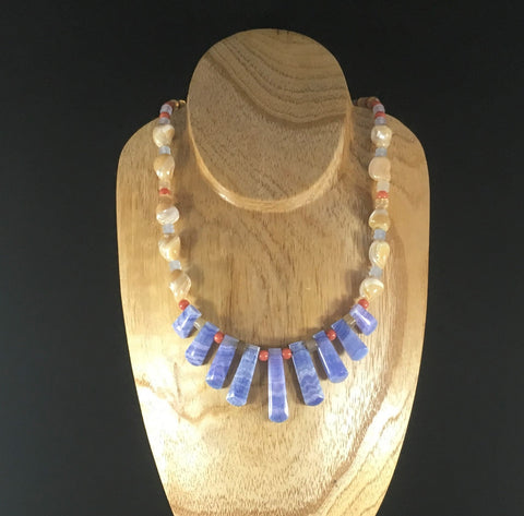 OBSN Necklace, Blue Wavy Beads. Seashell stones.  Sterling