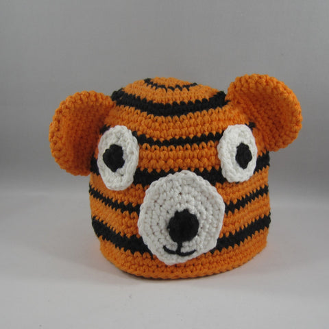 Crochet Hat, Orange Tiger.  Cotton Yarn. Large, 18mos to 5yrs.  Amigurumi pattern. Machine wash gentle cold.  Do not put in dryer.
