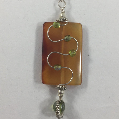 """Pathway"". Wire Wrapped Amber Pendant with a Sterling Chain.  Earrings included.  18"""