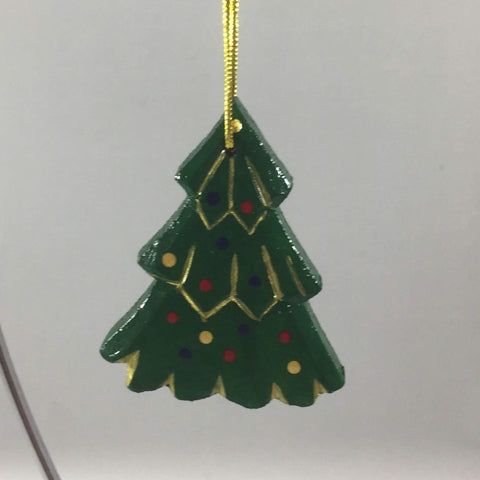 Hand Painted Christmas Tree Ornament. Wooden. 2-1/4""