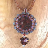 Necklace, Hand Weave Rope with a Hand Beaded Donut Pendant
