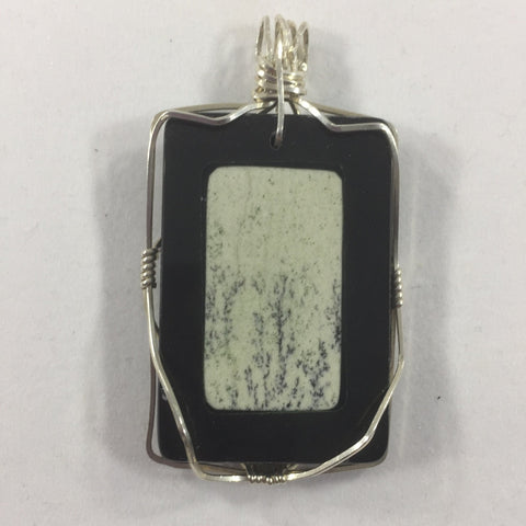 Picture Jasper and Onyx, Wire Wrap, Sterling