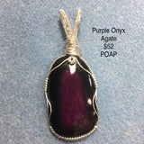 Pendant, Purple Shaded Agate, Sterling Wire Wrapped