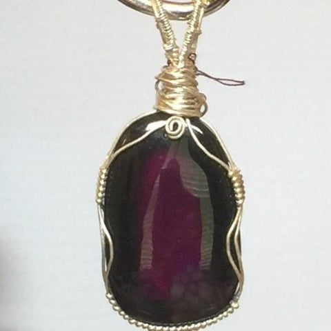 Purple Shaded Agate, Sterling Wire Wrapped